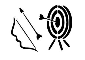 """Schablone """" Pfeil und Bogen """" auf A4"""