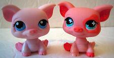 LITTLEST PET SHOP Figures PIGS Pink/Orange Blue/Teal Eyes LPS 2006 *Lot of 2*