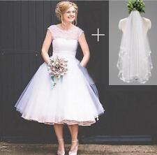 Short 1950s Polka Dotted Wedding Dress Tea Length Beach Bridal Gowns Custom Made