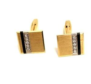 18k DIAMOND ONYX  SOLID YELLOW GOLD MEN CUFFLINKS