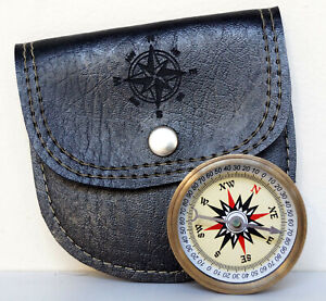 Antique Brass Vintage Flat Compass With Handmade Black Leather Case Item Gift