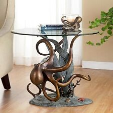 SPI Home Octopus and Seagrass End Table Nautical Coastal Oceanlife - 34622