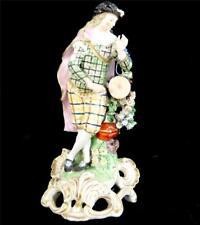 N687 18THC DERBY SOFT PASTE PORCELAIN FIGURE FIGURINE TAMBOURINE PLAYER