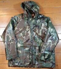 VTG Duck Bay Woodland Camo PVC Rain Coat Jacket Quilted Liner Medium Excellent