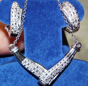 DIAMOND NECKLACE AND EARRING SET   PLATINUM OVER .925 STERLING SILVER   .25 CTW