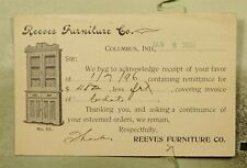 DR WHO 1896 COLUMBUS IN POSTAL CARD ADVERTISING FURNITURE CO  f32534