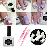 15ml Nail Art Peel Off Liquid Tape Polish Clean Tweezer Gift Kit Set