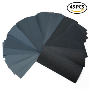 45Pcs Wet&Dry Sandpaper Polishing Abrasive Waterproof Paper Sheets 80-3000 Grit