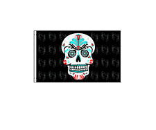 "NEW   Sugar Skull  Bicycle Safety Flag 12 x 18"" with Axle Mounting Bracket"
