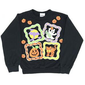 "VTG 90s Kids 4T 5T 30"" Halloween Sweatshirt Ghost Boo Bat Jack O Lantern Cat"
