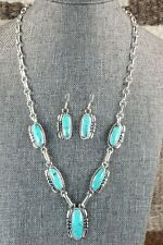 Navajo Turquoise & Sterling Silver Necklace Set - Verley Betone