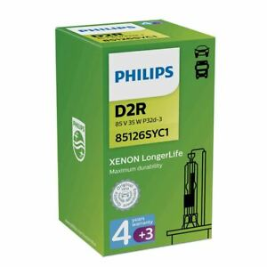 PHILIPS LongerLife D2R Xenon Single Bulb 35W P32d-3 85126SYC1 7 Years Warranty