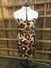 Pixie Lott Lipsy Ladies Gold & Black Animal Print Strapless Dress Uk Size 10