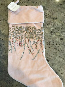 Pottery Barn Monique Lhuillier Neve Beaded Christmas Stocking Blush Pink NEW