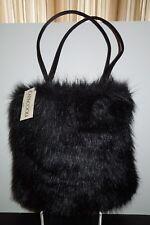 NWT Capaccioli Firenze Black Faux Fur Shoulder Strap Purse/Tote Italy