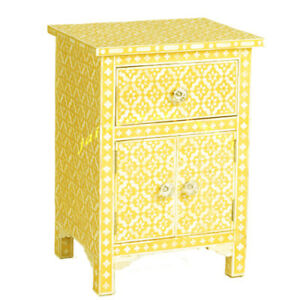 Handmade Solid Wood Bone inlay Yellow Wooden Antique Indian Bedside Table