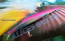 "NEW LONG JERK ""ALICE'S BAIT"" MINNOW 175 SLIM FLOATING - COLOR: PINK RAINBOW"