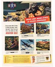 1944 ETHYL Corp Gasoline WW2 How Much Fuel Is Needed art VTG PRINT AD