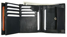 AG Wallets Mens Leather Trifold Wallet Hipster Multi Card ID Holder Black