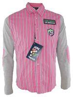 jonk 46 camicia maglia uomo rosa manica lunga taglia l large