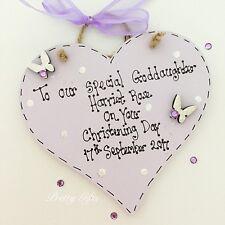 Personalised Christening Heart Plaque Keepsake Gift Baby Girl Boy Handmade