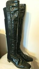 Stuart Weitzman Russell & Bromley Croc Patent Leather Over Knee boots size 8-8.5