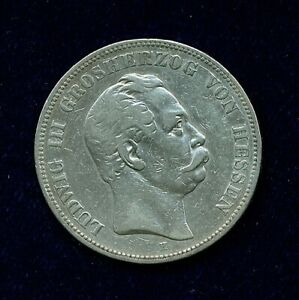 GERMANY / GERMAN STATES HESSE-DARMSTADT  1876-H   5 MARK SILVER COIN, VF