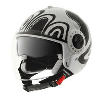 CABERG RIVIERA V2+ WAVE WHITE BLACK MOTORCYCLE MOTORBIKE SCOOTER CITY HELMET