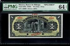 """Mexico RARE $1 Peso""""SPECIMEN""""El Banco De Hidalgo 1914  PMG 64"""