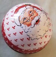 "Vtg Daher Santa tin 3"" ball Christmas candy gift container"
