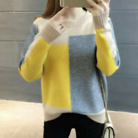 Women Contrast Color Knitted Sweater O Neck Jumper Casual Pullover Winter KdBDA
