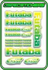 FUTABA RC STICKERS A5 SHEET R/C PLANE CAR BUGGY HELI REMOTE CONTROL GREEN YELL W