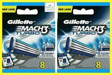 GILLETTE Mach 3 Turbo lame di ricambio - 2 x 8 CONFEZIONI = 16 LAME - 100% AUTENTICO