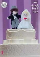 Bride & Groom Wedding Cake Toppers Toy Knitting Pattern King Cole 9067