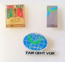 Fair Play. Lot of 3 Soccer Pin. Luxembourg, Germany, etc.