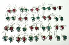 Ruby Silver Plated 20 Pcs Earring Genuine! Natural Rich Green Emerald & Red