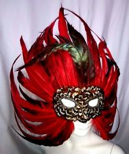 FEATHER MASQUERADE, MARDI GRAS, BIRD MASK.   RED 9414