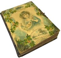 Antique Victorian Celluloid Photo Album Child Holly Cabinet Cards Tintypes CDVs