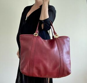 Authentic GUCCI Large Red Shoulder BAG LEATHER Purse GG Tote