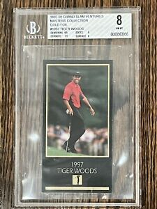 1997-98 Grand Slam Ventures Masters Collection Tiger Woods Gold Foil BGS 8 HOT!