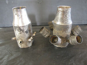 2 ANTIQUE SILVER PLATED BRASS SOCKET CLUSTERS, 1 W/ ORIGINAL 6 SOCKETS    3305