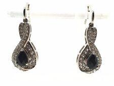 Sterling Silver Pear Black Onyx CZ Cluster Infinity Drop Dangle Post Earrings
