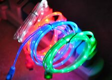 LIGHT-UP LED Data Sync Cable power charger MICRO USB v8 for SAMSUNG smart phones
