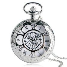 Silver Anime Black Butler Kuroshitsuji Quartz Pocket Watch Roman Number Chain