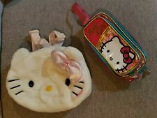 Hello Kitty Head Face Plush Backpack+ Wristlet Bag Wallet Sanrio Girls 2004 Vg