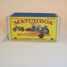 Matchbox Lesney 38 c Honda Motor Bike & Yellow Trailer Repro E Style Empty Box