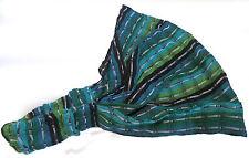 Guatemalan HEADBAND Hand Made Chalina Head Band Striped Green Yoga Wrap NEW C007