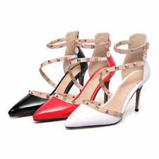 Women's Plus Size Shoes High Heel Studded Ankle Strap Pumps Pointed Sandals S051