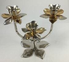 Two tone STAND for 3 DINNER CANDLES/ LOTUS DINNER CANDLE STAND 14cm X19cm*