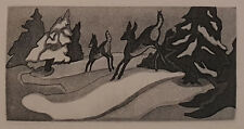 "George Jo Mess ""Deer in Snow"" 2x4 Aquatint Etching - Indiana Historic Art"